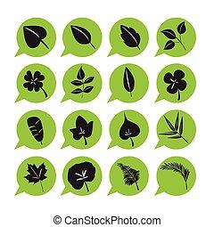 vektor, állhatatos, levél növényen, ikon