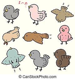 vektor, állhatatos, madár