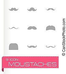 vektor, állhatatos, moustaches, ikon