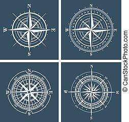 vektor, állhatatos, roses., illustration., iránytű