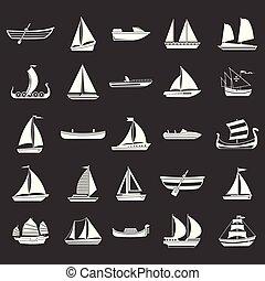 vektor, állhatatos, szürke, csónakázik, ikon
