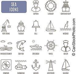 vektor, állhatatos, tenger, icons., pictogram