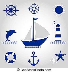 vektor, állhatatos, tenger
