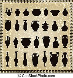 vektor, állhatatos, váza