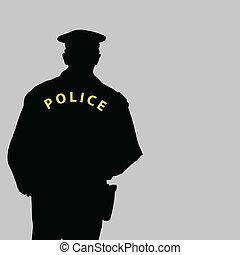 vektor, árnykép, ábra, rendőr