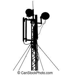 vektor, árnykép, antenna, mozgatható, illustrati, communications., árboc