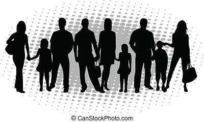 vektor, árnykép, család