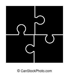 vektor, árnykép, ikon, rejtvény, állhatatos, jelkép, design.