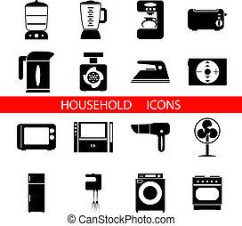 vektor, árnykép, jelkép, elszigetelt, állhatatos, háztartás icons, ábra
