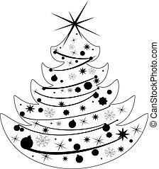 vektor, árnykép, karácsonyfa