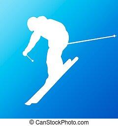 vektor, árnykép, lesiklás, skier.