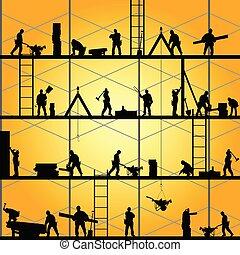 vektor, árnykép, munka, munkás, ábra, szerkesztés