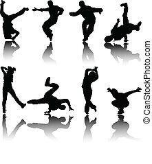 vektor, árnykép, táncosok, utca