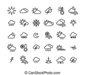 vektor, áttekintés, ikon, illustration., állhatatos, időjárás