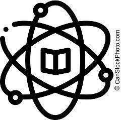 vektor, áttekintés, tanul, ábra, kémia, ikon, atom
