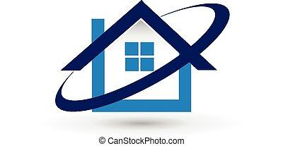 vektor, épület, birtok, jel, tényleges