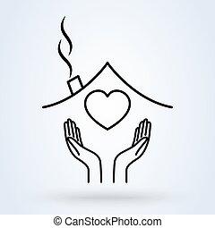 vektor, épület, birtok, jelkép, ábra, icon., alakít, egyenes, kézbesít, szív