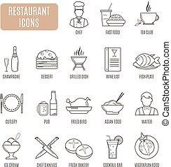 vektor, étterem, icons., állhatatos, pictogram