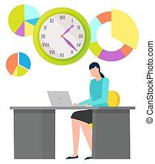 vektor, óra, számítógép, munkavállaló, ábra
