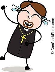 vektor, öröm, -, ábra, gond, lelkész, vallásos, karikatúra