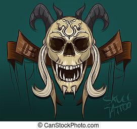 vektor, ördög, koponya, tetovál, ábra