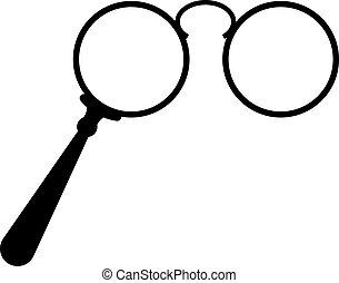 vektor, öreg, lorgnette, szemüveg, ikon