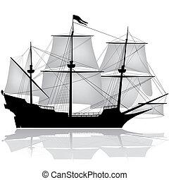 vektor, öreg, vitorláshajó