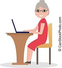 vektor, ülés, öreg, karikatúra, laptop, nő, íróasztal