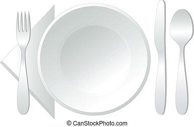 vektor, üres, tányér