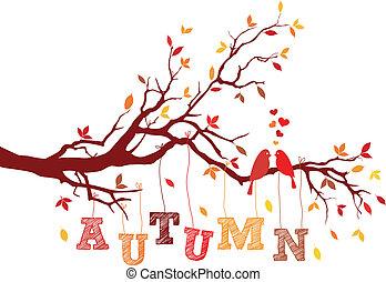 vektor, ősz, fa ág