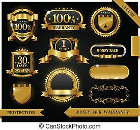 vektor, 100%, guaranteed, címke, megelégedettség, oltalom, aláír