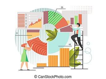 vektor, adatok, gyűjtés, lakás, mód, ábra, tervezés