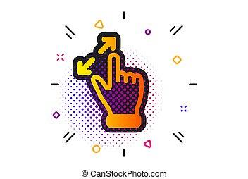 vektor, akció, gesztus, gyertya, arrows., cégtábla., icon., touchscreen