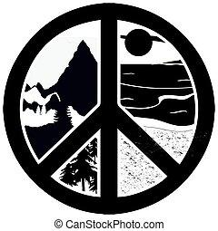 vektor, aláír, béke, természet, kaland