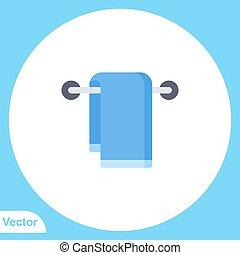 vektor, aláír, jelkép, lakás, ikon, törülköző
