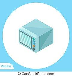 vektor, aláír, jelkép, lakás, mikrohullám, ikon