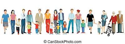 vektor, alakzat, együtt, család nemzedék, illustration.eps