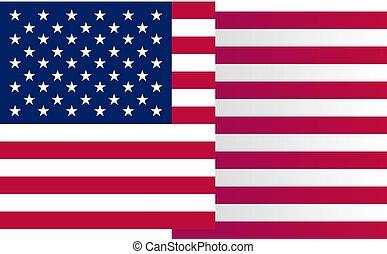 vektor, amerika, egyesült, hullámzás, illustration., usa, nagy, nemzeti lobogó, nap, egyesült államok, undependence, háttér, tervezés, negyedik, amerikai, fehér, logo., július, element.
