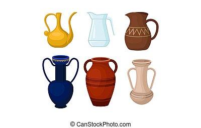 vektor, amphoric, elszigetelt, háttér, fehér, váza, görög, ősi, állhatatos