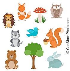 vektor, animals., gyűjtés, fa, csinos, karikatúra, állhatatos, mushroom., erdő