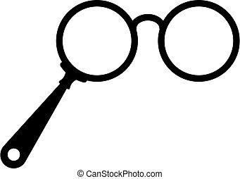 vektor, antik, ikon, szemüveg