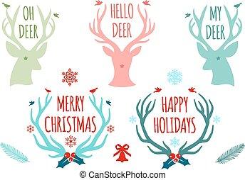 vektor, antlers, állhatatos, őz, karácsony