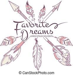 vektor, apacs, amerikai, csípőre szabott, indiai, horgol, mód, nyílvesszö, poszter, boho