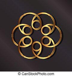 vektor, arany-, grafikus, logo., rozetta
