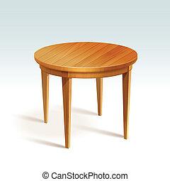 vektor, asztal, erdő, kerek, üres
