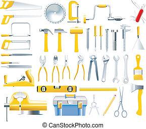 vektor, asztalos, állhatatos, eszközök, ikon