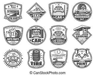 vektor, autó, garázs, szolgáltatás, ikonok