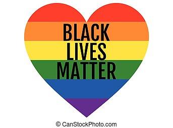vektor, büszkeség, szív, lgbt, fekete, él, szivárvány, anyag