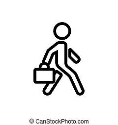 vektor, bőrönd, dolgozó, ábra, ember, ikon, mozgató, áttekintés