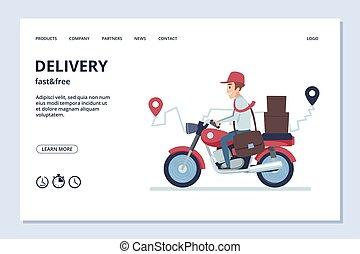 vektor, banner., ember, csomag, motorkerékpár, felszabadítás